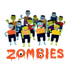 Group of Zombie Cartoon Characters