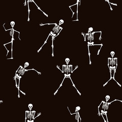 Seamless pattern, background with dancing skeletons in black and white colors. Stock line vector illustration