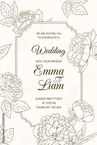 Wedding marriage event RSVP invitation card template. Border frame ...