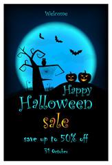 Halloween SALE leaflet. Vector halloween design template with pumpkin, owl, bats on blue moon background.