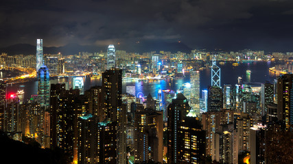 Hong Kong skyline at night.