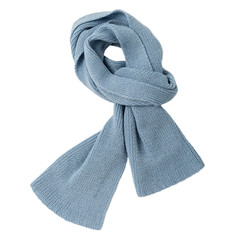 Knitted scarf of blue color on an isolated white background.