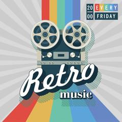 Reel to reel tape recorder. A vintage illustration. Retro music.