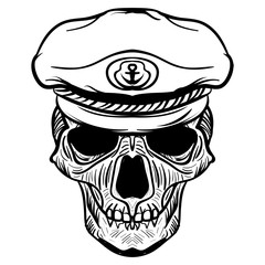 Vintage naval Skull drawing and captain hat.