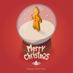 Christmas card. Isometric snow globe with the gingerbread man inside