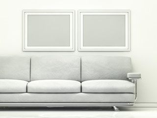 White poster with frame mockup. 3D rendering