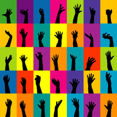 Retro background with silhouettes of hands