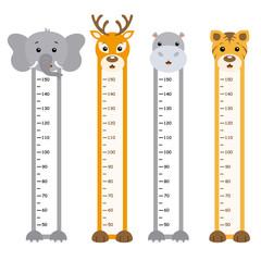 Deurstickers Hoogte schaal Bumper children meter wall. Animals