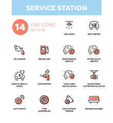 Service station - modern vector single line icons set