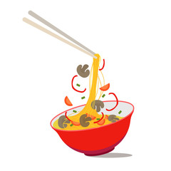 Cartoon Noodle Soup in Chinese Bowl. Vector