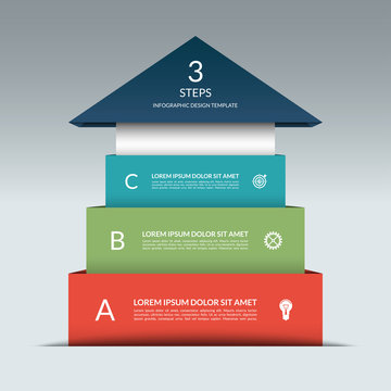 Up arrow infographic template. Business sucess staircase concept with 3 steps, options, stages. Can be used for workflow layout, diagram, chart, graph, web design. Vector illustration