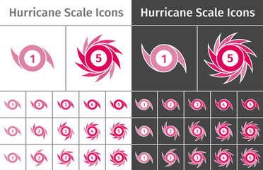 Set of hurricane scale icons on different backgrounds