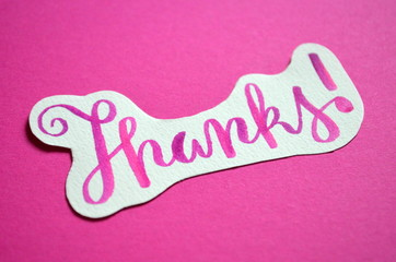 THANKS hand lettered on paper