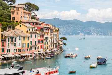 Fotobehang Liguria Portofino e il suo golfo, Golfo di Tigullio, Mar Ligure, Genova, Liguria, Italia