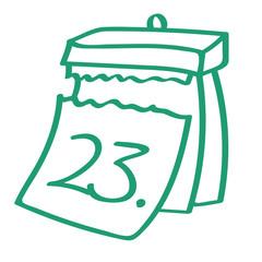 Handgezeichneter Kalender - Tag 23 in grün