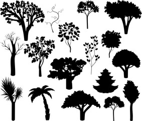 Set of different silhouettes of trees. Silhouettes of deciduous and coniferous trees
