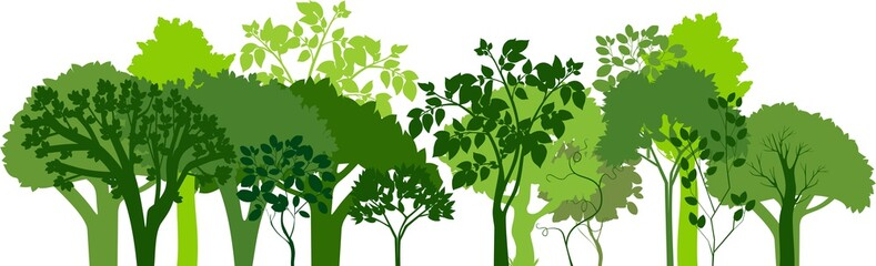 Group of silhouettes of green trees. Horizontal banners of silhouettes of deciduous trees