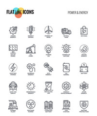 Flat line icons design-Power and Energy