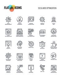 Flat line icons design-SEO and Web optimization