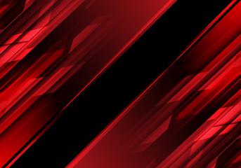 Abstract red polygon light in black design modern technology background vector illustration. Fototapete