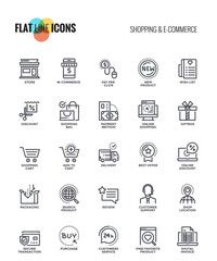 Flat line icons design - Shopping and E commerce