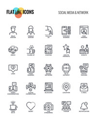 Flat line icons design-Social media and Network