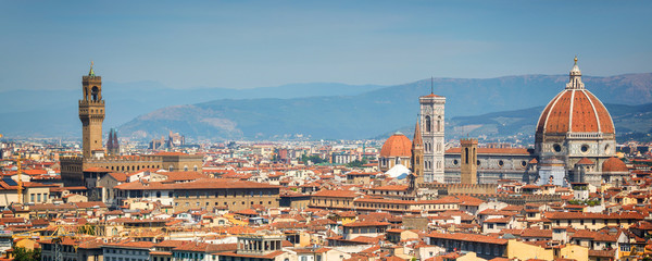 Fototapete - Panoramic view of Florence with the Basilica Santa Maria del Fiore (Duomo), Tuscany, Italy