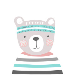 stylized colored hand drawn Illustration of cute bear head with striped shirt. kids sport design for kids print clothing textile cards and other