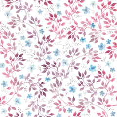 Cute primitive flowers and leaves. Seamless floral pattern. Hand drawn aquarelle