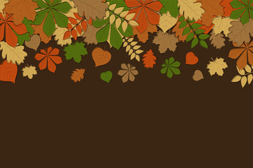 Background with hand drawn autumnal leaves. Vector.