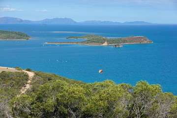 Viewpoint from the Ouen Toro parc in Noumea city, Ndo islet and Uere island, Grande Terre, New Caledonia, south Pacific