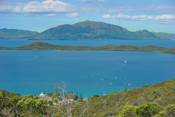 Sainte Marie bay and island with the mountain Mont Dore in background, seen from the Ouen Toro parc in Noumea city, Grande Terre, New Caledonia, south Pacific