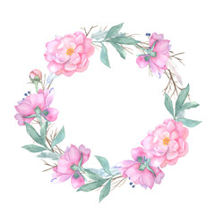Watercolor floral wreath isolated on white background. Vintage style round frame with wood branches, rose,  blue berries, feathers.