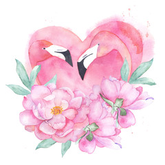 Watercolor pink flamingo couple with bouquet peony. Hand drawn illustration. Painting print for card, t-shirt, canvas