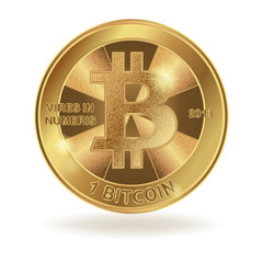 Golden coin of digital currency. Physical bitcoin isolated on white background. Stock vector illustration.