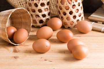 Organic eggs on wood. Fresh eggs.