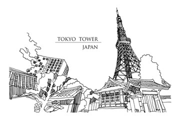 Tokyo tower perspective from alley beside of temple, vector illustration.