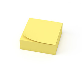 A pile of yellow sticky note reminders on a white background, 3D render