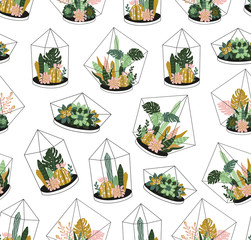 Hand drawn contained tropical house plants. Scandinavian style seamless pattern. Vector print design - terrariums with exotic plants.