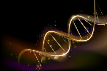 Background on medical subjects with spiral DNA. Popular science background. Scince illustration with DNA molecule.