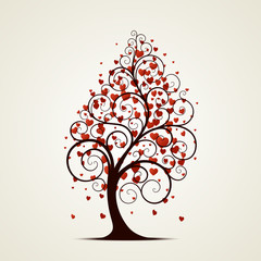 A black tree with red hearts instead of leaves on a white background. Vector illustration.