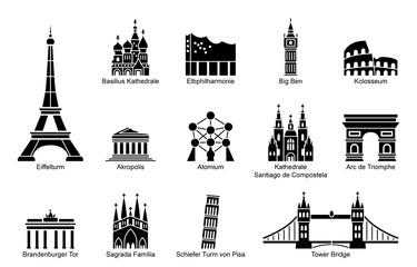 Wahrzeichen von Europa - Iconset (Schwarz/ beschriftet) Fotomurales