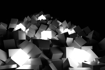 Lighting cubes background. 3D Rendering.
