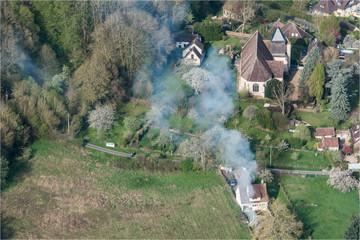 Vue aérienne du village typique français de Sorel dans l'Eure-et-Loir en France