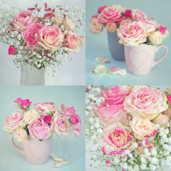 Flower collage .Close-up floral composition with a pink roses on a light background.