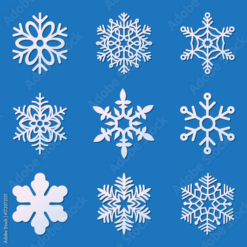 Laser Cutting Snowflakes Set Template For Die Cut Paper Snowflake
