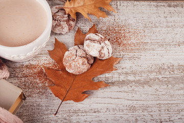 Autumn still life with cup of cocoa and chocolate cookies