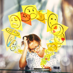 Emojis coming out of the smartphone
