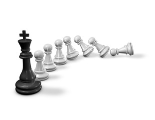 Influencing others concept with chess pawns falling down and chess king 3D rendering.