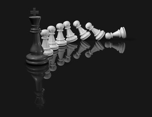 Chess pieces and domino effect. Defeat, failure concept 3D illustration.
